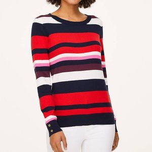 Loft NWT's Striped Button Cuff Sweater Style in L